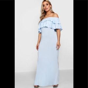 9129dd80716 ASOS Curve. Light Blue Off The Shoulder Maxi